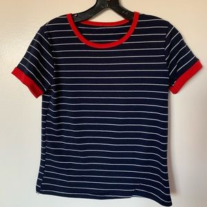Ringer navy and white tee with red outline